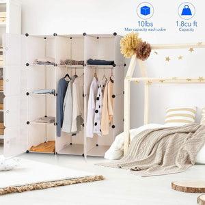 Select nice tangkula closet portable diy plastic stackable customizable bedroom dom dresser clothes closet wardrobe armoire organizing shelf cube storage with doors organizer closet 6 cubes 2 hanging sections