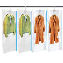 Load image into Gallery viewer, Budget mrs bag hanging vacuum storage bags 4 jumbo57x27 6 space saver bag dress cover with hook for coats jackets clothes closet storage hand pump included