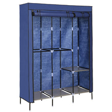 Load image into Gallery viewer, Select nice yiilove stylish wardrobe storage portable clothes closet organizer with rollable wardrobe curtain for bedroom to storage clothes shoes blue