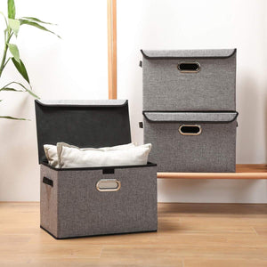 Exclusive large foldable storage box bin with lids2 pack no smell stackable linen fabric storage container organizers with handles for home bedroom closet nursery office gray color