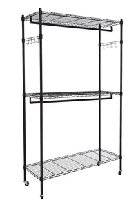 Kitchen hindom free standing closet garment rack with wheels and side hooks 3 tiers large size heavy duty rolling clothes rack closet storage organizer us stock