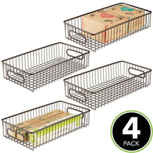 Load image into Gallery viewer, Save on mdesign extra long household metal drawer organizer tray storage organizer bin basket built in handles for kitchen cabinets drawers pantry closet bedroom bathroom 8 wide 4 pack bronze