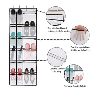 Get kootek 2 pack over the door shoe organizers 12 mesh pockets 6 large mesh storage various compartments hanging shoe organizer with 8 hooks shoes holder for closet bedroom white 59 x 21 6 inch