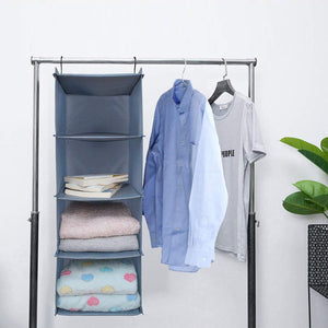 Save on ishealthy hanging closet organizer and storage 4 shelf easy mount foldable hanging closet wardrobe storage shelves clothes handbag shoes accessories storage washable oxford cloth fabric gray