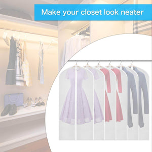 Get zilink clear garment bag dress bags for storage 54 inch dust free coat bags with full length zipper for clothes closet storage set of 6