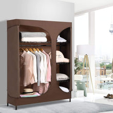 Load image into Gallery viewer, Select nice langria heavy duty wire shelving garment rack clothes rack portable clothes closet wardrobe compact zip closet extra large wardrobe storage rack organizer hanging rod capacity 420 lbs dark brown