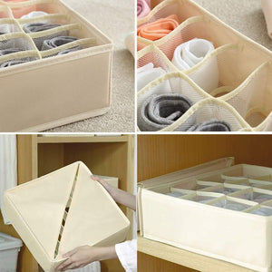 Top rated xitangou set of 4 flodable drawer organiser collapsible closet divider for underwear bras neck ties handkerchiefs beige