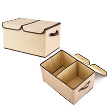 Load image into Gallery viewer, Storage large fabric storage bins with lids and removable dividers collapsible linen storage boxes containers for toy nursery closet shelf living room bedroom organize2 pack beige