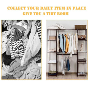 New tangkula garment rack portable adjustable expandable closet storage organizer system home bedroom closet shelves clothes wardrobe coffee