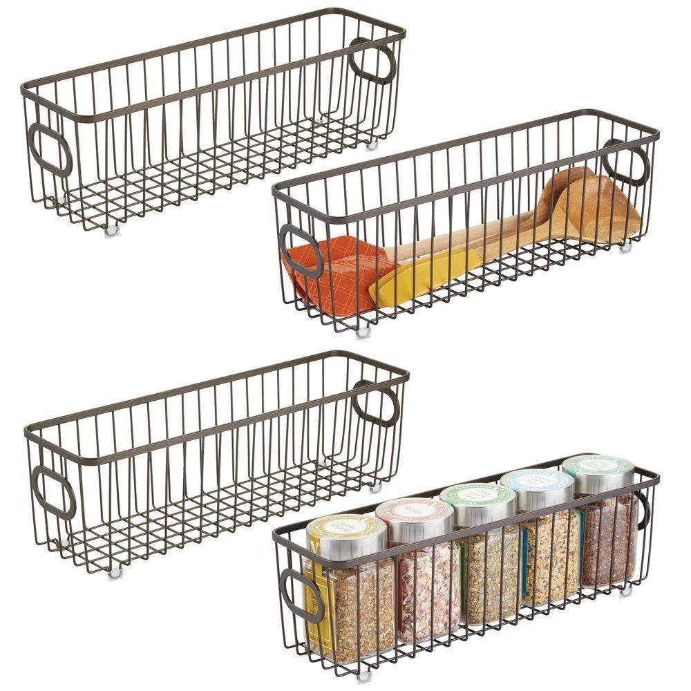 mDesign Metal Farmhouse Kitchen Pantry Food Storage Organizer Basket Bin - Wire Grid Design - for Cabinets, Cupboards, Shelves, Countertops - Holds Potatoes, Onions, Fruit - Long, 4 Pack - Bronze