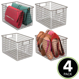 Best mdesign large farmhouse deco metal wire storage organizer basket bin with handles for organizing closets shelves and cabinets in bedrooms bathrooms entryways hallways 8 high 4 pack bronze