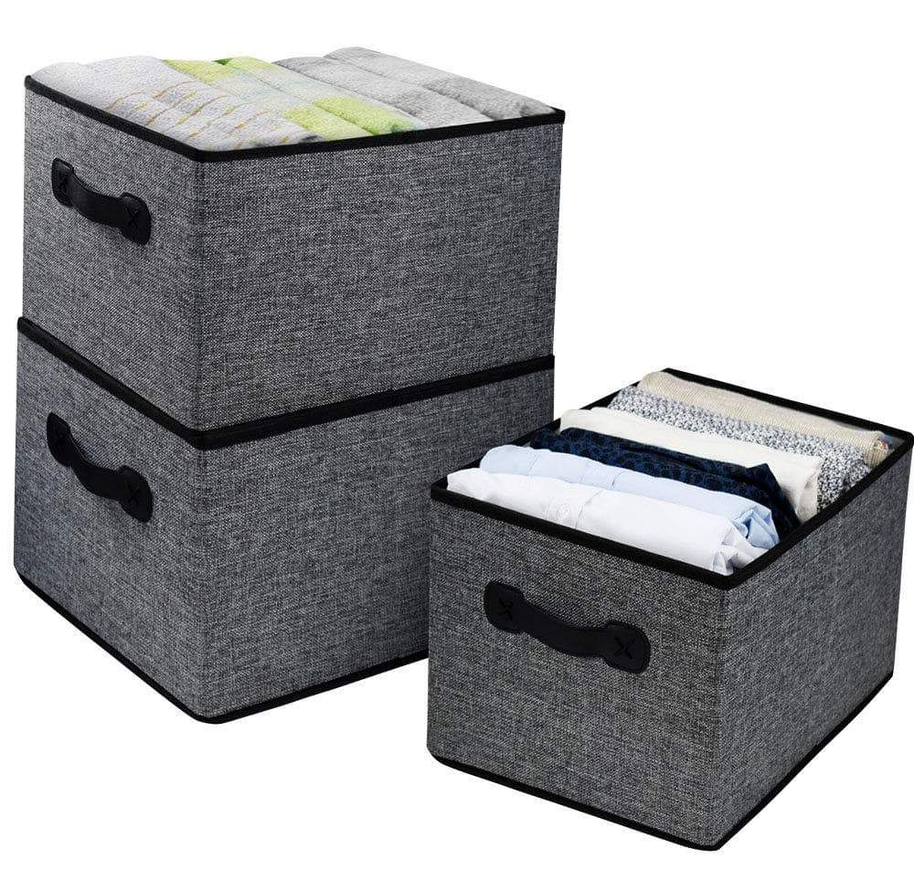 Discover homyfort cloth collapsible storage bins cubes 15 7x11 8x9 8 linen fabric basket box cubes containers organizer for closet shelves with leather handles set of 3 grey