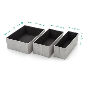 Budget foldable closet drawer organizer set of 3 storage containers moisture and dust proof storage baskets beautiful textured fabric sturdy build perfect for home and office gray birch