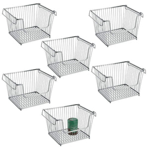 Shop mdesign modern stackable metal storage organizer bin basket with handles open front for kitchen cabinets pantry closets bedrooms bathrooms large 6 pack silver