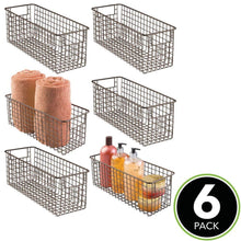 Load image into Gallery viewer, Shop for mdesign farmhouse decor metal wire bathroom organizer storage bin basket for cabinets shelves countertops bedroom kitchen laundry room closet garage 16 x 6 x 6 in 6 pack bronze
