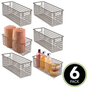 Shop for mdesign farmhouse decor metal wire bathroom organizer storage bin basket for cabinets shelves countertops bedroom kitchen laundry room closet garage 16 x 6 x 6 in 6 pack bronze