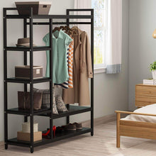 Load image into Gallery viewer, Top little tree free standing closet organizer heavy duty closet storage with 6 shelves and handing bar large clothes storage standing garmen rack black