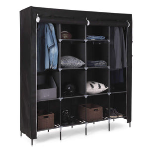 Related songmics 67 inch wardrobe armoire closet clothes storage rack 12 shelves 4 side pockets quick and easy to assemble black uryg44h