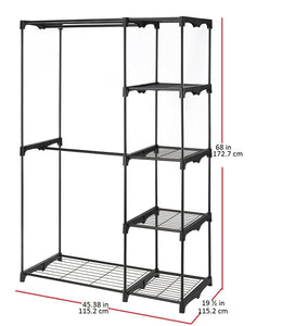 Shop for whitmor freestanding portable closet organizer heavy duty black steel frame double rod wardrobe cloths storage with 5 shelves shoe rack for home or office size 45 1 4 x 19 1 4 x 68
