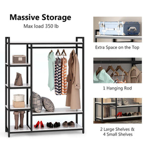 Best little tree free standing closet organizer heavy duty clothes rack with 6 shelves and handing bar large closet storage stytem closet garment shelves