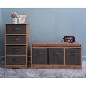 Exclusive iwell wooden dresser storage tower with removable 4 drawer chest storage organizer dresser for small rooms living room bedroom closet hallway rustic brown sng004f