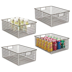 Discover the best mdesign farmhouse decor metal wire food organizer storage bin baskets with handles for kitchen cabinets pantry bathroom laundry room closets garage 4 pack bronze