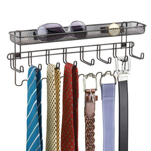 Featured mdesign decorative metal closet wall mount jewelry accessory organizer for storage of necklaces bracelets rings earrings sunglasses wallets 8 large 11 small hooks 1 basket bronze
