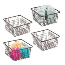 Load image into Gallery viewer, Save on mdesign farmhouse decor metal wire storage organizer bin basket with handles for bathroom cabinets shelves closets bedrooms laundry room garage 10 25 x 9 25 x 5 25 4 pack bronze