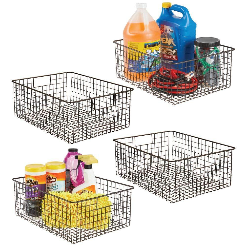 Best seller  mdesign large farmhouse decor metal wire garage home organizer storage bin basket for cabinets shelves countertops bathroom bedroom kitchen laundry room closet 16 long 4 pack bronze