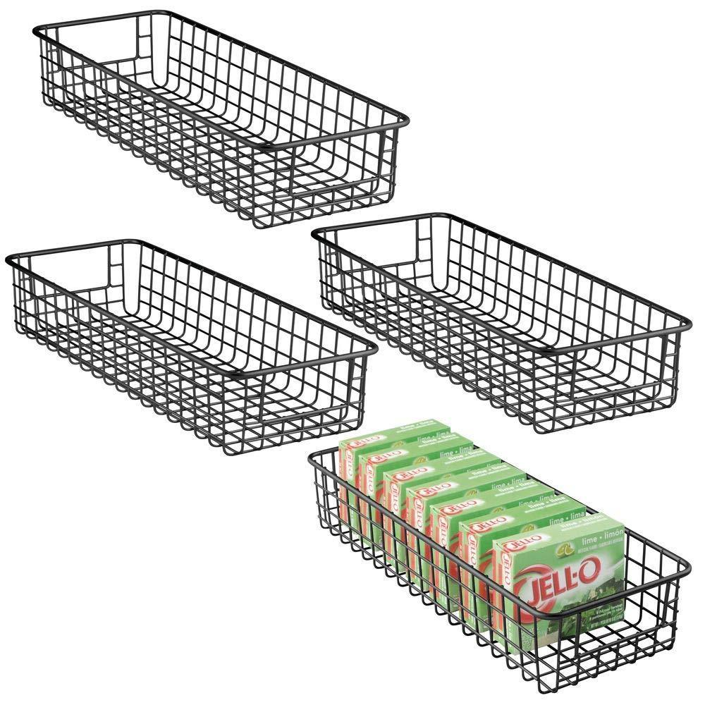The best mdesign household wire drawer organizer tray storage organizer bin basket built in handles for kitchen cabinets drawers pantry closet bedroom bathroom 16 x 6 x 3 4 pack matte black