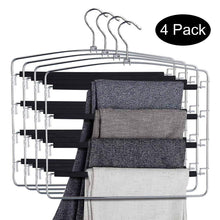 Load image into Gallery viewer, Budget doiown pants hangers slacks hangers space saving non slip stainless steel clothes hangers closet organizer for pants jeans trousers scarf 4 pack large size 17 1high x 15 9width