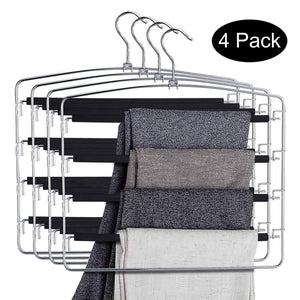 Budget doiown pants hangers slacks hangers space saving non slip stainless steel clothes hangers closet organizer for pants jeans trousers scarf 4 pack large size 17 1high x 15 9width