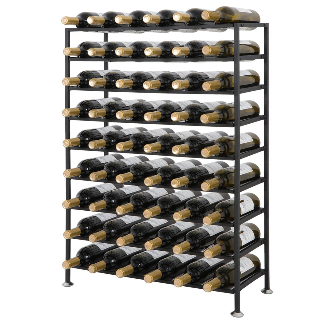 HomGarden 54 Bottle Free Standing Deluxe Large Foldable Metal Wine Rack Cellar Storage Organizer Shelves Kitchen Decor Cabinet Display Stand Holder