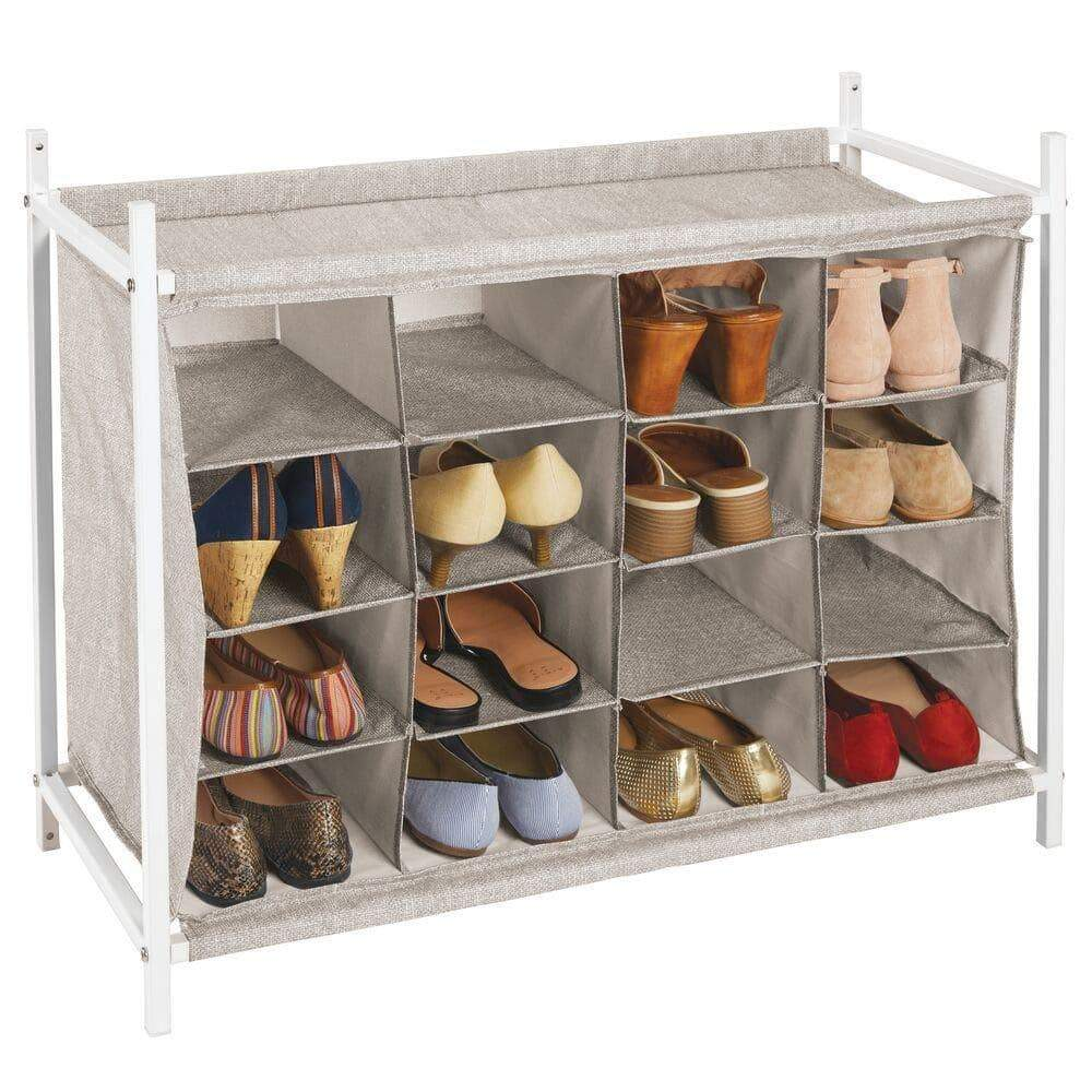 Latest mdesign soft fabric shoe rack holder organizer 16 cube storage shelf for closet entryway mudroom garage kids playroom metal frame easy assembly closet organization linen white