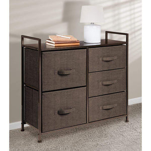 Related mdesign wide dresser storage tower sturdy steel frame wood top easy pull fabric bins organizer unit for bedroom hallway entryway closets textured print 5 drawers espresso brown