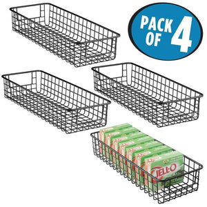Amazon best mdesign household wire drawer organizer tray storage organizer bin basket built in handles for kitchen cabinets drawers pantry closet bedroom bathroom 16 x 6 x 3 4 pack matte black