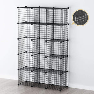 New george danis wire storage cubes metal shelving unit portable closet wardrobe organizer multi use rack modular cubbies black 14 inches depth 3x5 tiers