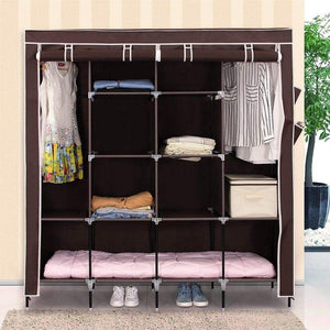Storage songmics 67 inch wardrobe armoire closet clothes storage rack 12 shelves 4 side pockets quick and easy to assemble brown uryg44k