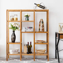 Load image into Gallery viewer, Best seller  costway multifunctional bamboo shelf bathroom rack storage organizer rack plant display stand w several cell closet storage cabinet 5 tier