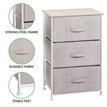 Load image into Gallery viewer, Storage organizer mdesign vertical dresser storage tower sturdy steel frame wood top easy pull fabric bins organizer unit for bedroom hallway entryway closets textured print 3 drawers linen natural