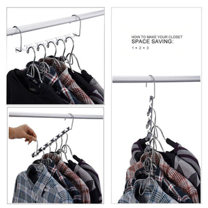 On amazon star fly magic hangers space saving hangers magical clothing hanger with hook stainless steel wonder closet organizer 10 pack