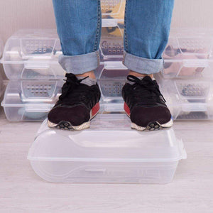 Shop baoyouni clear shoe box closet corner storage case holder dust proof breathable organizer saving space stackable with lid for flats athletic shoes sandals heels sneakers pack of 5
