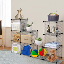 Load image into Gallery viewer, Amazon best tangkula wire storage cubes metal wire free standing modular shelving grids diy bookcase closet wardrobe organization storage cubes 12 cubes