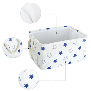 The best storage bin zonyon rectangular collapsible linen foldable storage container baby basket hamper organizer with rope handles for boys girls kids toys office bedroom closet gift basket blue star