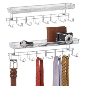 On amazon mdesign closet wall mount accessory organizer for storage of ties belts watches glasses accessories 8 hooks 1 basket pack of 2 chrome