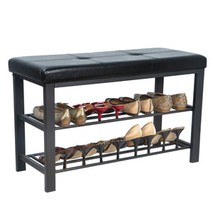 New simplify f 0680 black storage bench shoe rack ottoman tufted padded seating for entryway bedroom closet hallway black