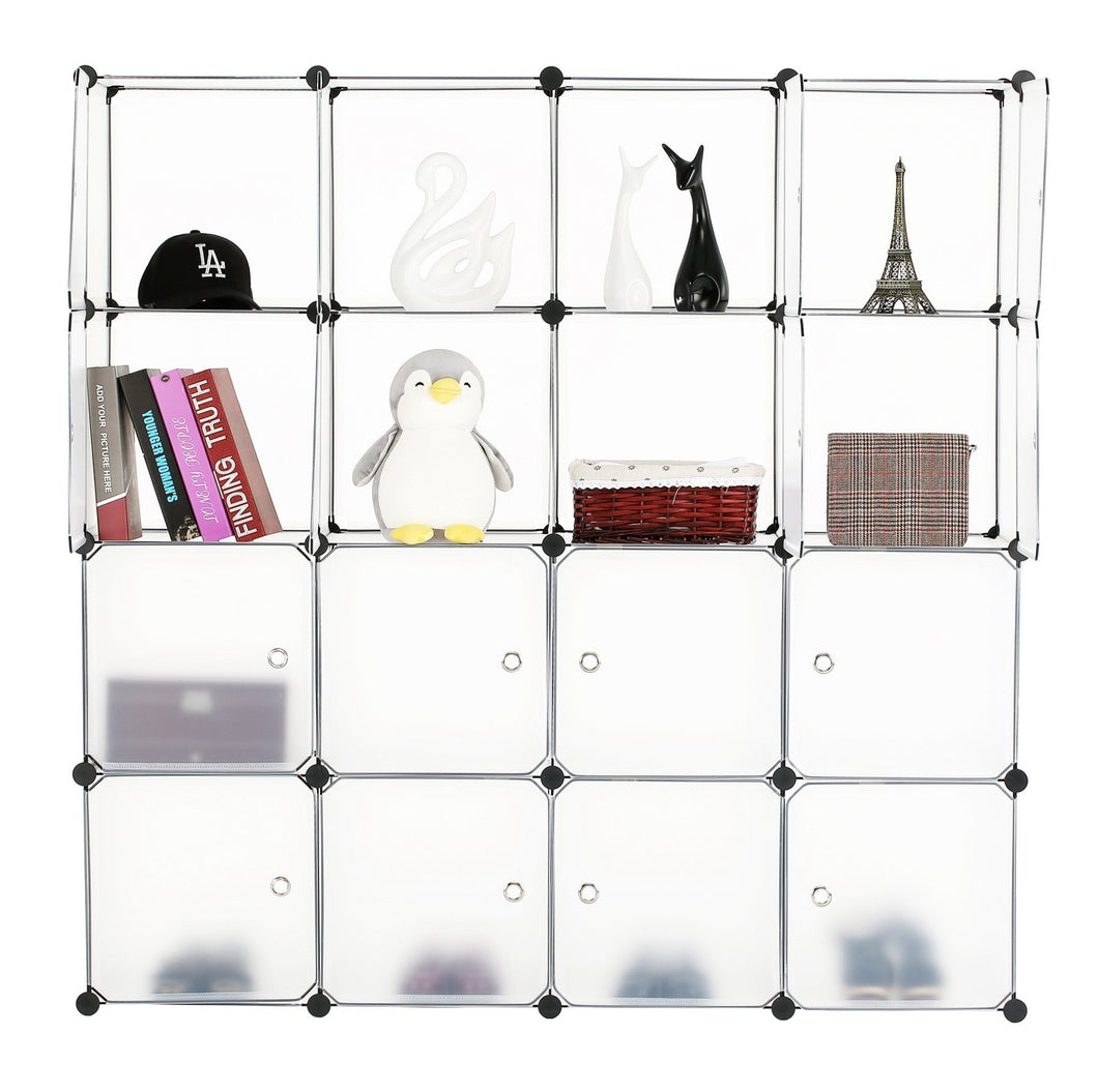 Try bastuo 16 cubes diy storage cabinet clothes wardrobe closet bookcase shelf baskets modular cubes closet for toys books clothes white with doors