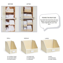 Load image into Gallery viewer, Featured g u s ivory linen closet storage organize bins for sheets blankets towels wash cloths sweaters and other closet storage 100 cotton large