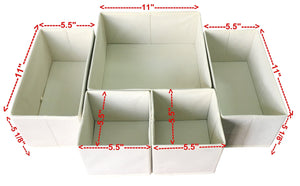 Organize with sodynee fba_scd6sbe foldable cloth storage box closet dresser organizer cube basket bins containers divider with drawers for underwear bras socks ties scarves 6 pack beige