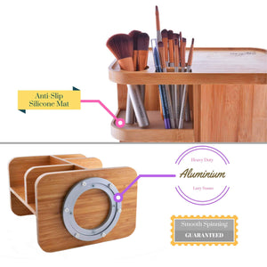 Kitchen refine 360 bamboo cosmetic organizer multi function storage carousel for your vanity bathroom closet kitchen tabletop countertop and desk